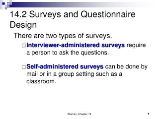 14.2 Surveys and Questionnaire Design
