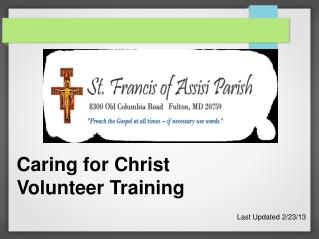 Caring for Christ  Volunteer Training