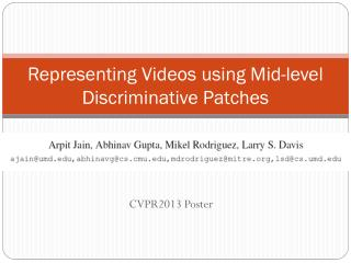 Representing Videos using Mid-level Discriminative Patches