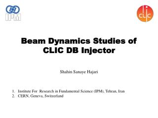 Beam Dynamics Studies of  CLIC DB Injector