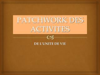 PATCHWORK DES ACTIVITES