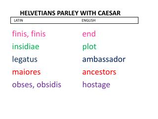 Helvetians parley with  caesar