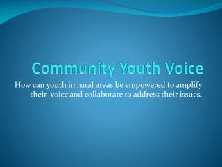 Community Youth Voice
