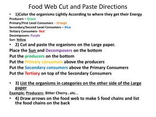 Food Web Cut and Paste Directions