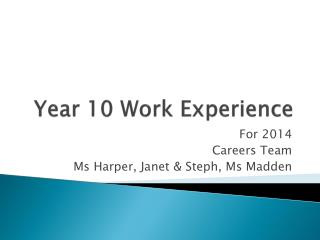 Year 10 Work Experience