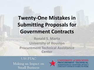Twenty-One Mistakes in Submitting Proposals for Government Contracts