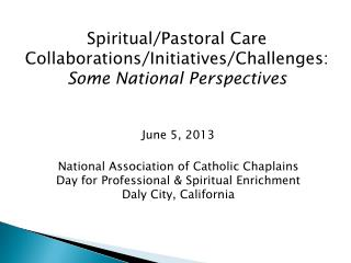 Spiritual/Pastoral Care  Collaborations/Initiatives/Challenges:  Some National Perspectives