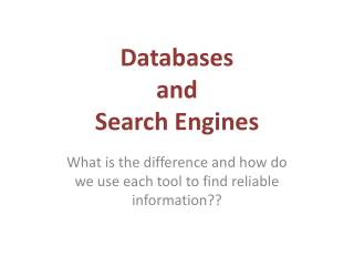Databases  and  Search Engines