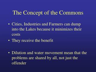 The Concept of the Commons