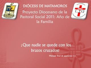 Proyecto Diocesano de la Pastoral Social  2011:  Año de la  Familia
