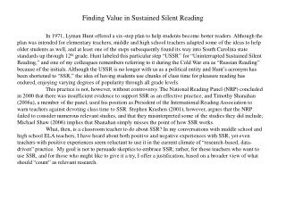 Finding Value in Sustained Silent Reading