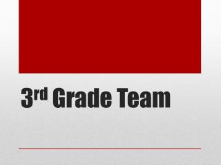 3 rd  Grade Team