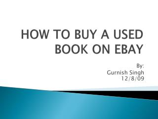 HOW TO BUY A USED  BOOK ON EBAY