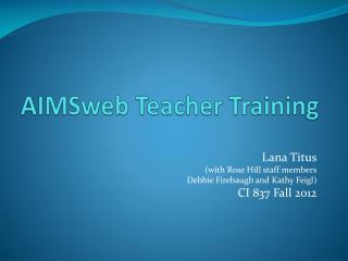 AIMSweb  Teacher Training