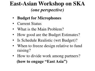 East-Asian Workshop on SKA (one perspective)