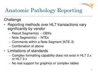 Anatomic Pathology Reporting