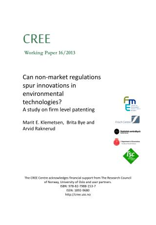 Can non-market regulations spur innovations in environmental technologies ?