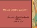 Maine s Creative Economy