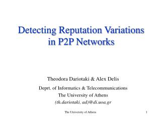 Detecting Reputation Variations in P2P Networks