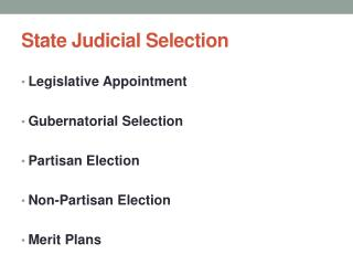 State Judicial Selection
