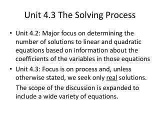 Unit 4.3 The Solving Process