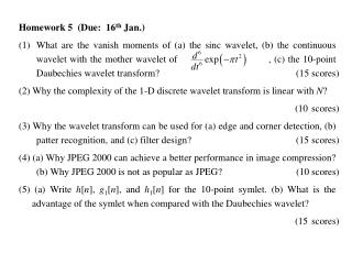 Homework 5  (Due:   16 th Jan.)