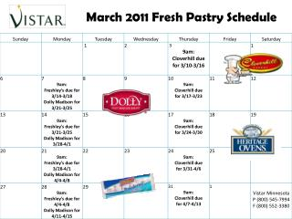 March 2011  Fresh Pastry Schedule