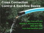 Cross Connection Control  Backflow Basics
