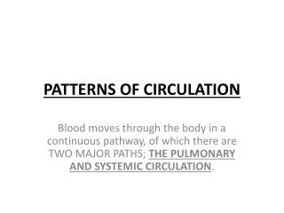 PATTERNS OF CIRCULATION