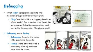 """Debugging What  coders  (programmers) do to find the errors (""""bugs"""") in their own programs"""