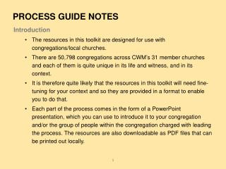 Introduction The resources in this toolkit are designed for use with congregations/local churches.