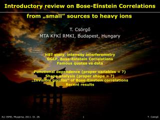 Introductory review on Bose-Einstein Correlations