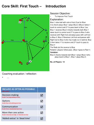 Session Objective: To Improve First Touch  Explanation: