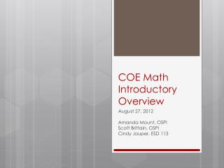 COE Math Introductory Overview
