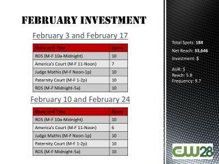February  Investment