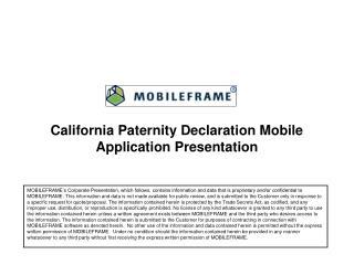 California  Paternity Declaration Mobile  Application Presentation