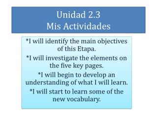 Unidad  2.3 Mis Actividades