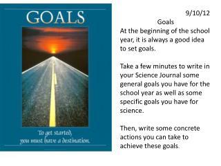 9/10/12 Goals