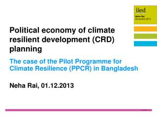 Political economy of climate resilient development (CRD) planning