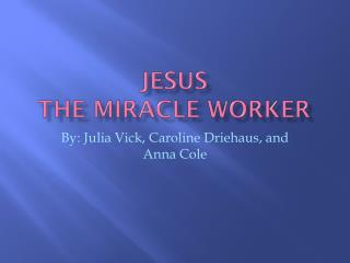 Jesus The  M iracle Worker