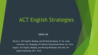 ACT English Strategies