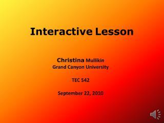 Interactive Lesson