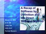 A Recap of Stiffness by Definition and the Direct Stiffness Method