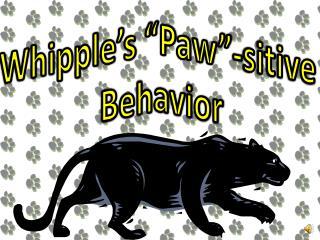"Whipple's ""Paw""- sitive  Behavior"