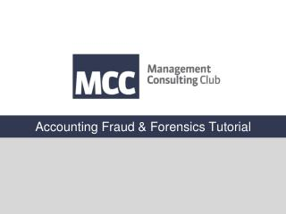 Accounting Fraud & Forensics Tutorial