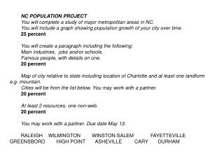 NC POPULATION PROJECT You will complete a study of major metropolitan areas in NC.