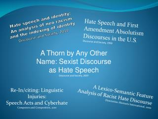 Hate Speech and First Amendment Absolutism Discourses in the U.S . Discourse and Society, 1999