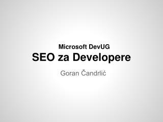 Microsoft DevUG SEO  za Developere