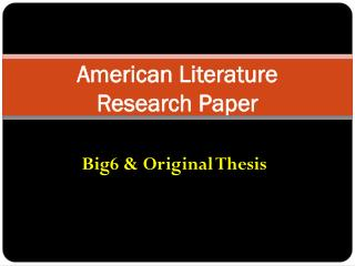 American Literature   Research Paper