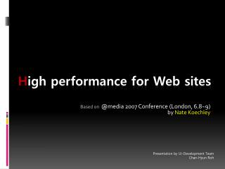 H igh performance for Web sites